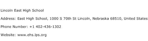 Lincoln East High School Address Contact Number