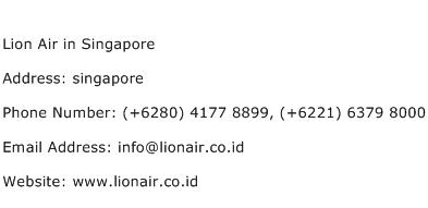 Lion Air in Singapore Address Contact Number