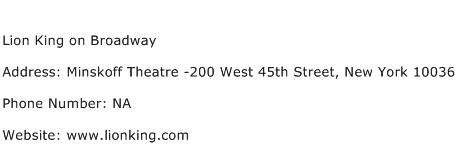 Lion King on Broadway Address Contact Number