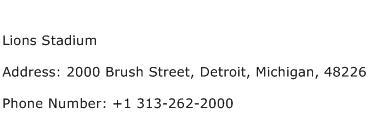 Lions Stadium Address Contact Number