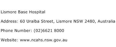 Lismore Base Hospital Address Contact Number