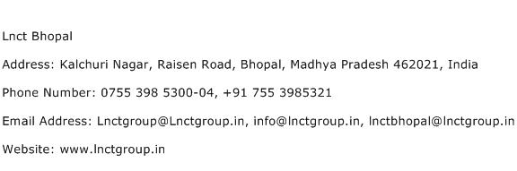 Lnct Bhopal Address Contact Number