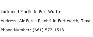 Lockheed Martin in Fort Worth Address Contact Number
