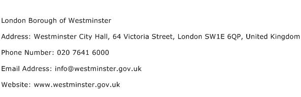London Borough of Westminster Address Contact Number