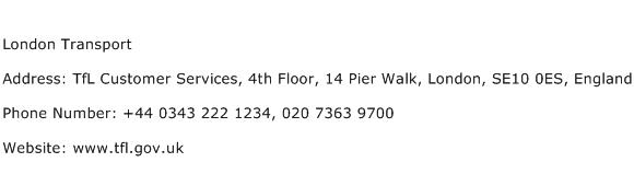 London Transport Address Contact Number