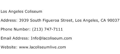 Los Angeles Coliseum Address Contact Number