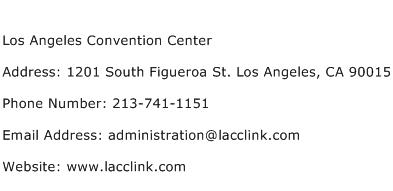 Los Angeles Convention Center Address Contact Number