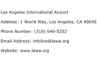 Los Angeles International Airport Address Contact Number