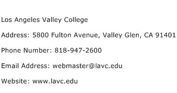 Los Angeles Valley College Address Contact Number