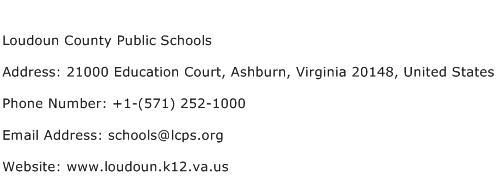 Loudoun County Public Schools Address Contact Number