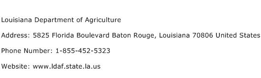 Louisiana Department of Agriculture Address Contact Number