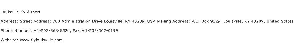 Louisville Ky Airport Address Contact Number