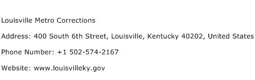 Louisville Metro Corrections Address Contact Number