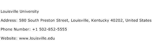 Louisville University Address Contact Number
