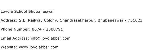 Loyola School Bhubaneswar Address Contact Number