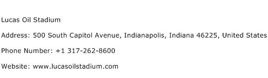 Lucas Oil Stadium Address Contact Number