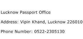 Lucknow Passport Office Address Contact Number