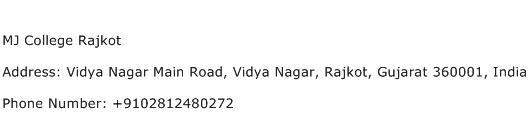 MJ College Rajkot Address Contact Number