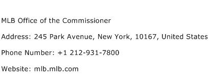 MLB Office of the Commissioner Address Contact Number