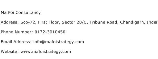 Ma Foi Consultancy Address Contact Number