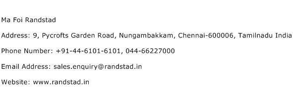 Ma Foi Randstad Address Contact Number