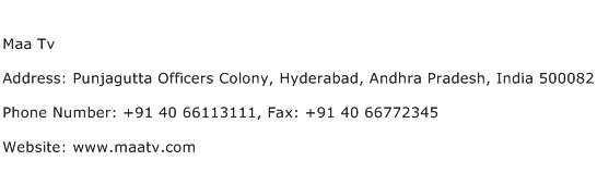 Maa Tv Address Contact Number