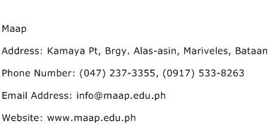 Maap Address Contact Number