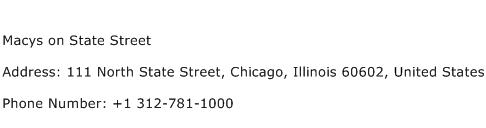 Macys on State Street Address Contact Number