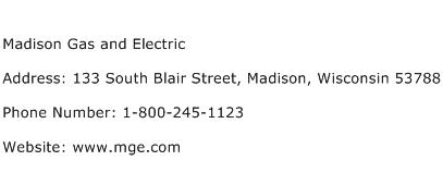 Madison Gas and Electric Address Contact Number