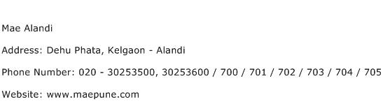Mae Alandi Address Contact Number