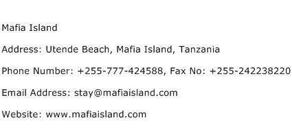 Mafia Island Address Contact Number
