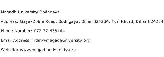 Magadh University Bodhgaya Address Contact Number