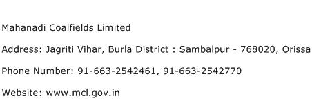 Mahanadi Coalfields Limited Address Contact Number