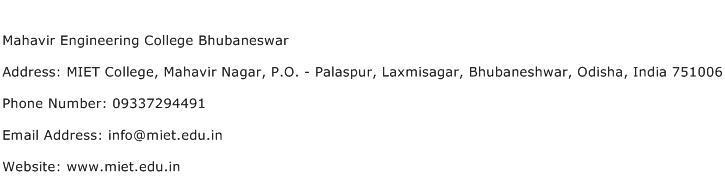 Mahavir Engineering College Bhubaneswar Address Contact Number