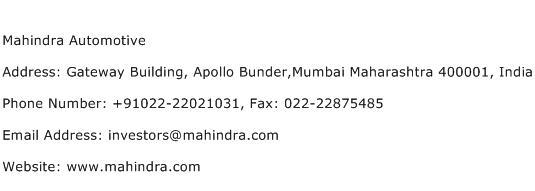 Mahindra Automotive Address Contact Number