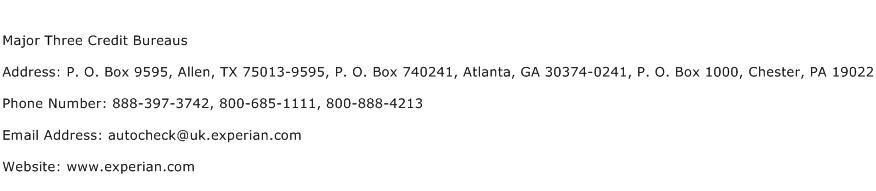 Major Three Credit Bureaus Address Contact Number