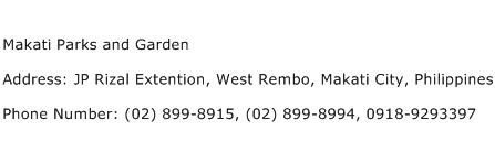 Makati Parks and Garden Address Contact Number