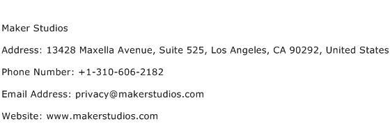 Maker Studios Address Contact Number