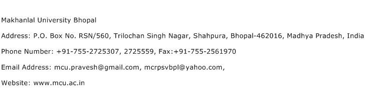 Makhanlal University Bhopal Address Contact Number