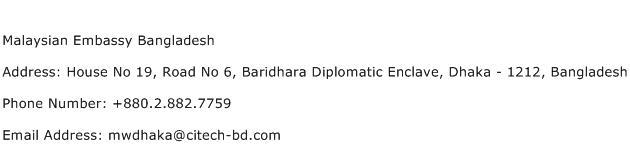 Malaysian Embassy Bangladesh Address Contact Number