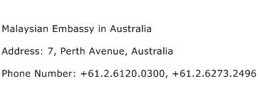 Malaysian Embassy in Australia Address Contact Number