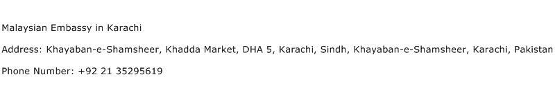 Malaysian Embassy in Karachi Address Contact Number