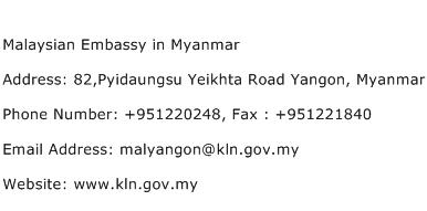 Malaysian Embassy in Myanmar Address Contact Number
