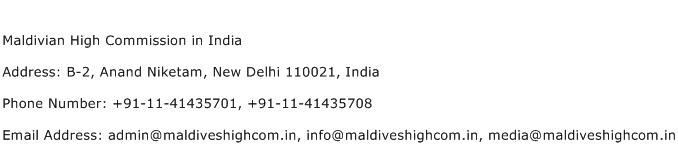 Maldivian High Commission in India Address Contact Number