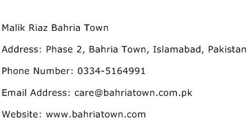 Malik Riaz Bahria Town Address Contact Number