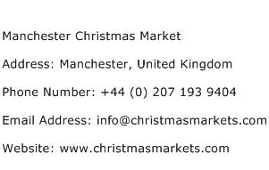 Manchester Christmas Market Address Contact Number