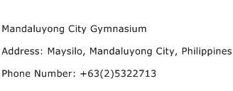 Mandaluyong City Gymnasium Address Contact Number
