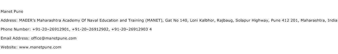 Manet Pune Address Contact Number