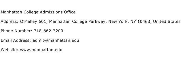 Manhattan College Admissions Office Address Contact Number