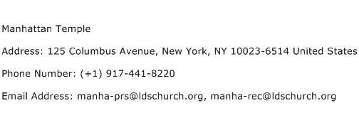 Manhattan Temple Address Contact Number
